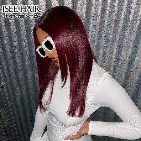 Burgundy Human Hair Wig with Natural Hairline, 99J Straight Lace Front Wig for Black Women   ISEE HAIR