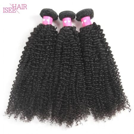 ISEE HAIR 10A Grade 100% Human Virgin Hair unprocessed Mongolian Kinky Curly 3 Bundles Deal