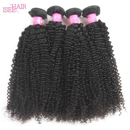 ISEE HAIR 10A Grade 100% Human Virgin Hair unprocessed Mongolian Kinky Curly 4 Bundles Deal
