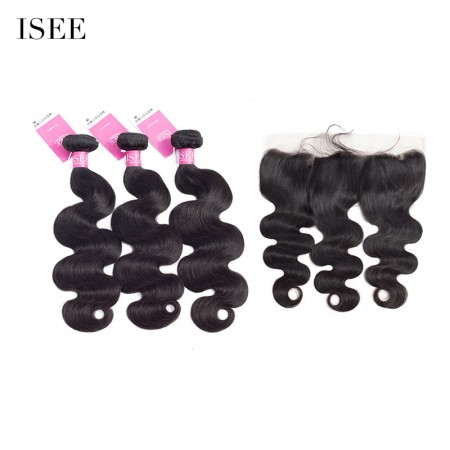 ISEE HAIR Brazilian Body Wave Bundles with Frontal 9A Grade 100% Human Virgin Hair unprocessed