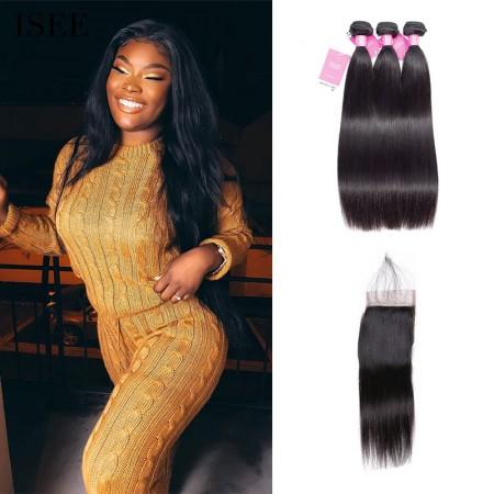 Straight Hair Bundles with Closure ISEE HAIR 9A Grade 100% Human Virgin Hair