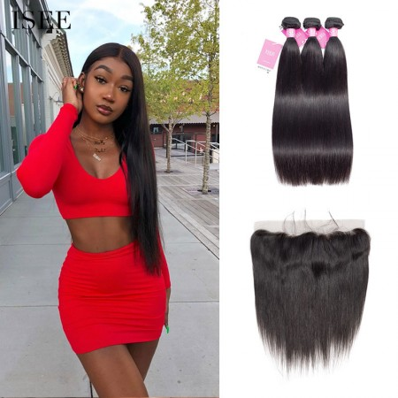ISEE HAIR unprocessed Brazilian Straight Hair 3 Bundles with Frontal 9A Grade 100% Human Virgin Hair