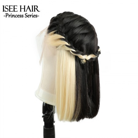 ISEEHAIR Straight Short Bob Wigs Peekaboo Hair Two Tone Color Natural Black With Blonde Underneath Transparent Lace Wigs