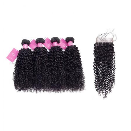 ISEE HAIR Mongolian Kinky Curly 4 Bundles with Closure 9A Grade 100% Human Virgin Hair