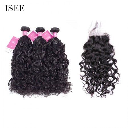 ISEE HAIR 9A Grade 100% Human Virgin Hair Natural Wave 3 Bundles with Closure Deal