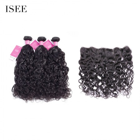 ISEE HAIR 9A Grade 100% Human Virgin Hair unprocessed Brazilian Natural Wave Bundles with Frontal Deal