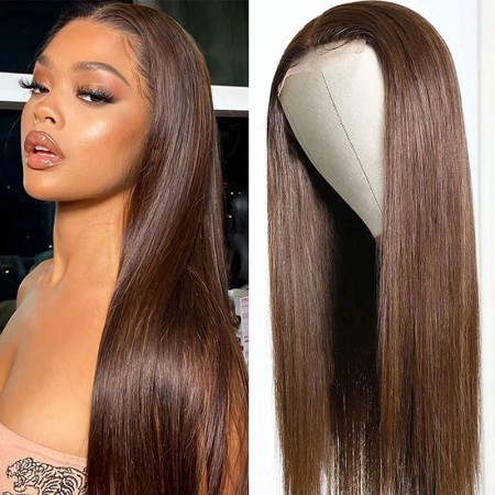 ISEEHAIR #4 Color Lace Front Wig Chestnut Brown Human Hair Wigs Pre Plucked