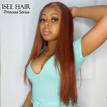 Color #33 Dark Auburn Silky Straight Lace Front Wig Pre-plucked Human Hair Wig