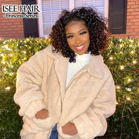 Short Curly 13*4 Lace Bob Wigs Water Wave Lace Front Wig | ISEE HAIR