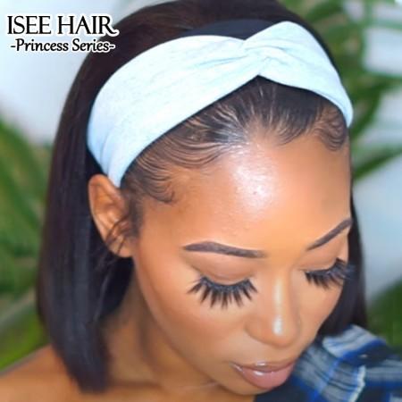 ISEEHAIR Headband Bob Straight Human Hair Wig, Beginner Friendly Glueless Wig For Black Women