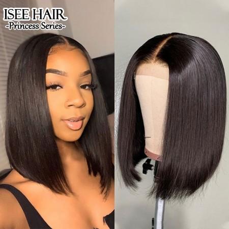 ISEE HAIR Bob Wig Lace Front Human Hair Wigs 13*4 Lace Wigs 100% Human Virgin Hair