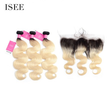 ISEE HAIR Color 1B/613 Ombre Blonde Human Virgin Hair Body Wave 13*4 Lace Frontal with 3 or 4 Bundles per Pack