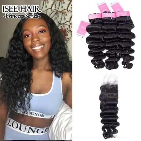 ISEE HAIR Hollywood Wave Bundles with Closure Deal 9A Grade 100% Human Virgin Hair