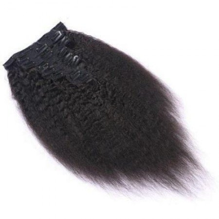 Kinky Straight Clip Ins Hair Extensions 100% Human Hair Natural Black Color ISEEHAIR