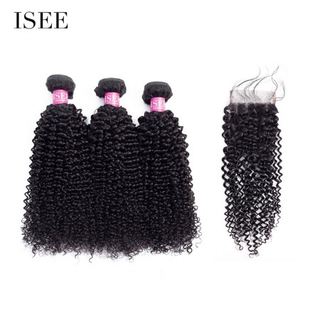 ISEE HAIR 10A Grade 100% Human Virgin Hair Kinky Curly 3 Bundles with Closure Deal