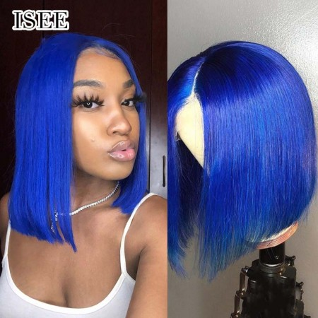 Bob Lace Front Wig, #Blue Straight Hair 130% Density | ISEE HAIR