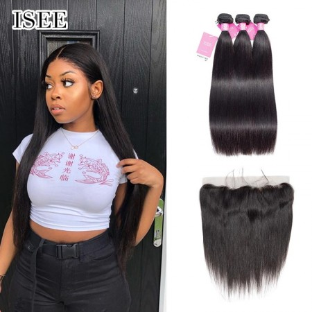 ISEE HAIR Straight Hair Bundles with Frontal Deal 9A Grade 100% Human Virgin Unprocessed Hair