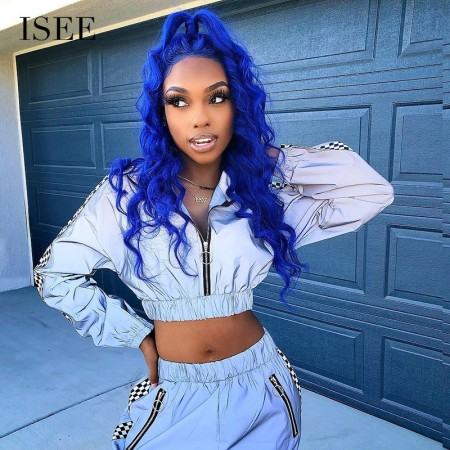 ISEE HAIR Blue&Pink Colored Human Hair Wigs, 13x4 Lace Front Wig for Women with Baby Hair