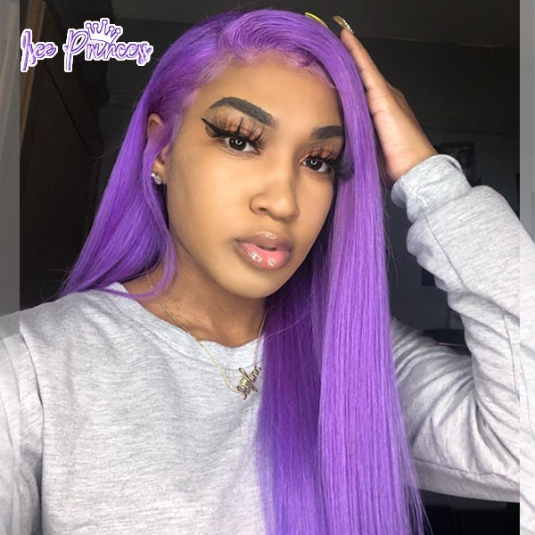 Isee Hair Purple Hair Lace Front Wig Lilac Color Human