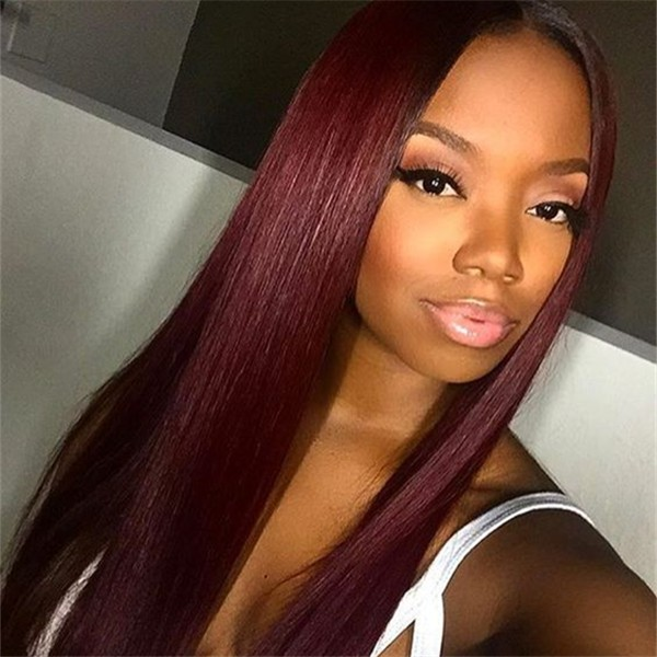 Affordable Burgundy Human Hair Wig 99j Colored Straight