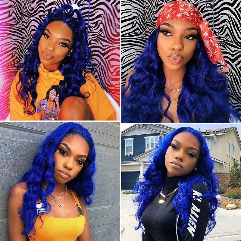 Isee Hair Blue Amp Pink Amp Purple Colored Human Hair Wigs 13x4