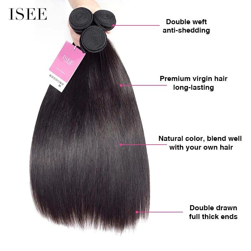 ISEE HAIR Straight Hair Bundles 9A Grade 100% Human Virgin Hair unprocessed