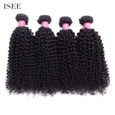 ISEE HAIR 10A Grade 100% Human Virgin Hair unprocessed Kinky Curly 4 Bundles Deal