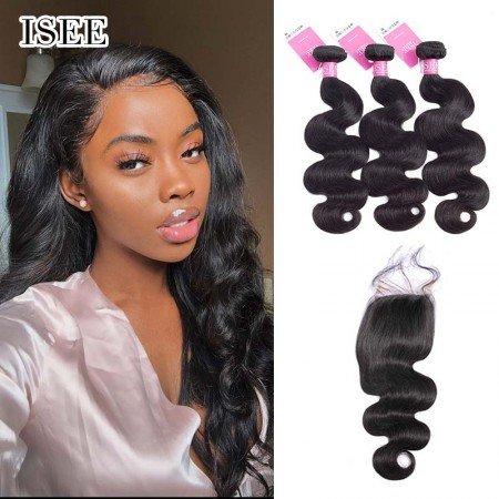 ISEE HAIR Body Wave Bundles with Closure 9A Grade 100% Human Virgin Hair