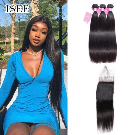 ISEEHAIR Straight Hair Bundles with Closure ISEE HAIR 9A Grade 100% Human Virgin Hair