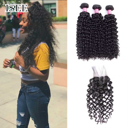 ISEE HAIR 9A Grade 100% Human Virgin Hair Water Wave Bundles with Closure Deal