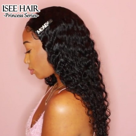 ISEE HAIR Deep Curly Lace Front Wig,Pre Plucked Natural Hair Liner with Baby Hair, 100% Human Virgin Hair Wigs