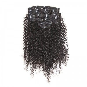 ISEEHAIR Kinky Curly Clip Ins Hair Extensions 100% Human Hair Natural Black Color