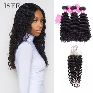 ISEE HAIR Deep Curly Bundles with Closure 9A Grade 100% Human Virgin Hair