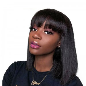 ISEE HAIR  Machine Made Sew In Bob Wig with Bangs, Short Human Hair Wigs Natural Black Silky Straight Wigs For Black Women