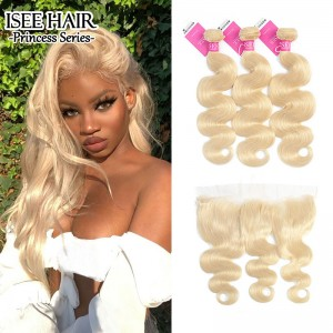 ISEE HAIR 613 Blonde Human Virgin Hair Body Wave Frontal with 3 or 4 Bundles Per Pack