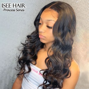 ISEE HAIR Body Wave Lace Closure Wig Real Human Hair Wigs Preplucked With Natural Hairline