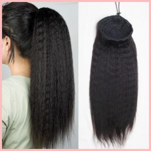 Drawstring Ponytail Extension Hair Kinky Straight Ponytail With Clip In 100% Human Hair