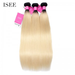 Color 1B/613 Ombre Straight Hair Bundles Deal Double Weft Human Virgin Hair Extensions
