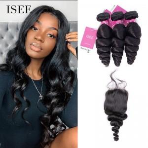 ISEE HAIR Loose Wave Bundles with Closure Deal 9A Grade 100% Human Virgin Hair