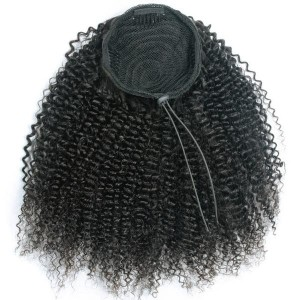 Drawstring Ponytail Extension Hair Afro Curly Ponytail With Clip In 100% Human Hair