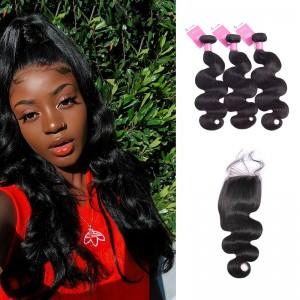 ISEE HAIR Brazilian Body Wave Bundles with Closure 9A Grade 100% Human Virgin Hair