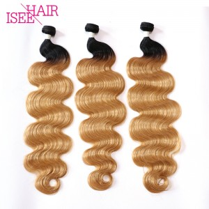 ISEE HAIR Brazilian Body Wave Color #1b-27 3 or 4 Bundles Deal 8A Grade 100% Human Virgin Hair