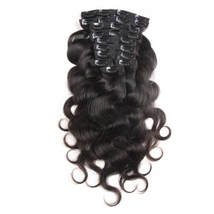 Body Wave Clip Ins Hair Extensions 100% Human Hair Natural Black Color