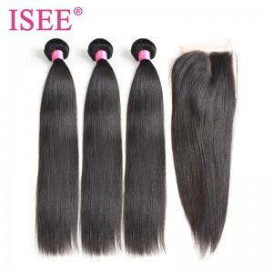 ISEE HAIR 10A Grade 100% Human Virgin Hair Peruvian Straight Hair 3 Bundles with Closure Deal