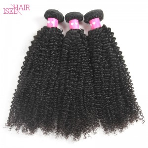 ISEE HAIR 10A Grade 100% Human Virgin Hair unprocessed Mongolian Kinky Curly 3 Bundles Deal