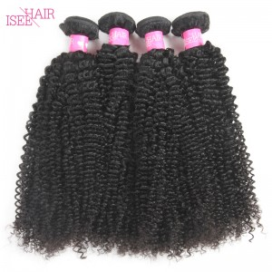 ISEE HAIR 10A Grade 100% Human Virgin Hair unprocessed Indian Kinky Curly 4 Bundles Deal