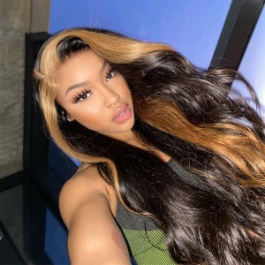 Honey Blonde Skunk Stripe Straight Hair 13*4 Lace Wig Colored Transparent Lace Front Human Hair Wigs