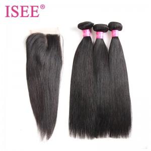 ISEE HAIR 10A Grade 100% Human Virgin Hair Indian Straight Hair 3 Bundles with Closure Deal