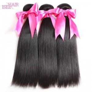 ISEE HAIR 10A Grade 100% Human Virgin Hair unprocessed Indian Straight Hair 3 Bundles Deal