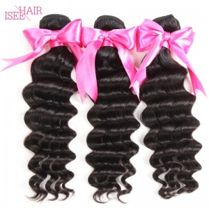 ISEE HAIR 10A Grade 100% Human Virgin Hair unprocessed Indian Loose Deep 3 Bundles Deal